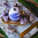 Amethyst Bath Bomb | The All Healer Temperance Tarot Healing Crystal Bath Bomb Collection Cruelty Free Bridesmaid Stress Anxiety Relief